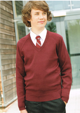 Unisex Knitted V-Neck Jumper School Uniform Soft 50//50 Cotton Acrylic VNF