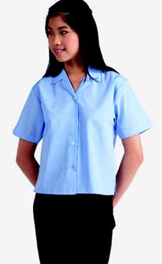 BANNER GIRLS SHORT SLEEVE REVERE COLLAR BLOUSE